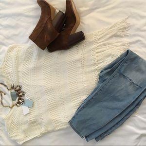 Loose White boho shaggy knit top