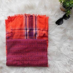 Plaid Blanket Scarf and Boho Blanket Scarf Bundle