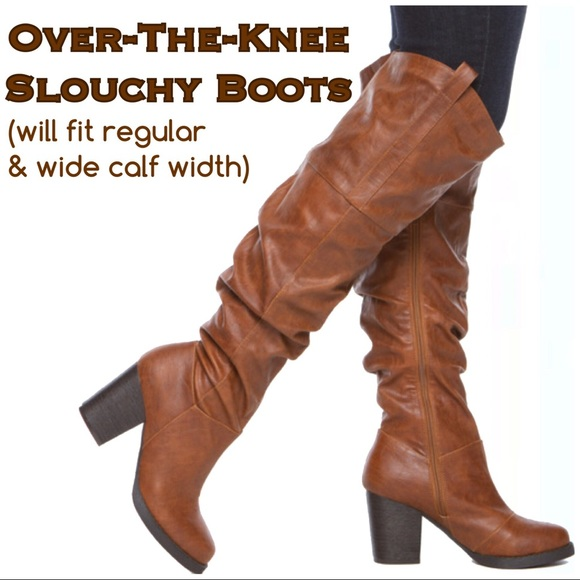 b5ed51ee403 Leila Stone Shoes - 💲⬇️Cognac OTK Slouchy Block Heel Boots