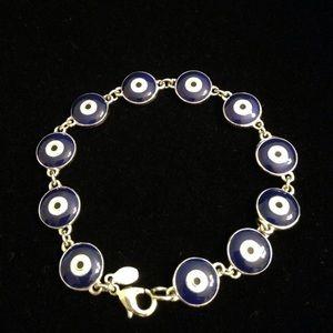Joan Rivers Silvertone Blue Evil Eye Line Bracelet