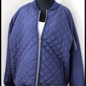 ASOS New Look Navy Quilted Bomber Jacket size 16