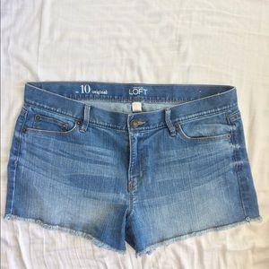Loft Cut Off Shorts Medium Blue Wash