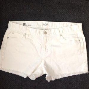 Loft White Cut off Shorts