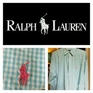 Ralph Lauren Polo Blue and White Plaid Button Down
