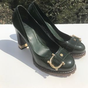 Tory Burch Green Patent Leather Buckle Heels 7.5
