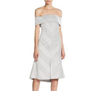 N Nicholas off the shoulder chevron dress size 2
