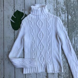Ralph Lauren Cream Chunky Turtleneck Sweater S