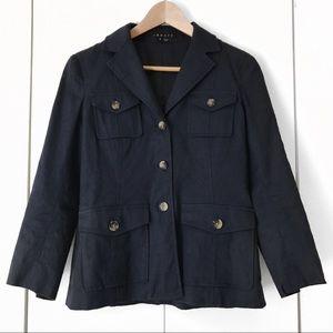 Theory Shelly Linen Navy Blue Button Blazer Size 6