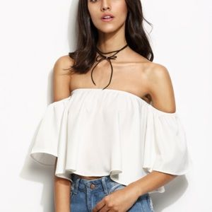 Tops - White off shoulder crop top