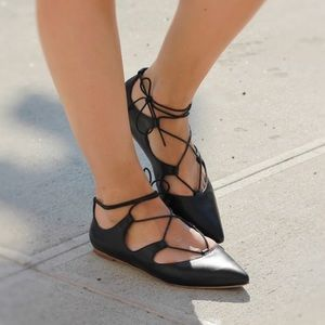 Loeffler Randall 'Pointed lace -up flat'