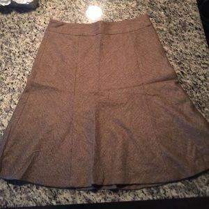 ZARA BASIC A LINE BROWN TWEED SKIRT SIZE 10