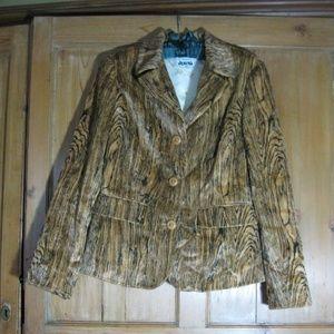 Iceberg Italy woodgrained plush blazer jacket 42