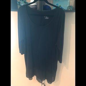 Black Jersey Tunic with Chiffon Hem