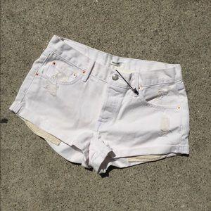 GRLFRND denim destress shorts in white