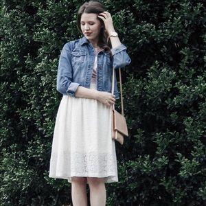 H&M Cream Lace Midi Skirt Size 10