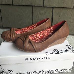 NEW Rampage Jerald cognac brown kitten wedge shoes