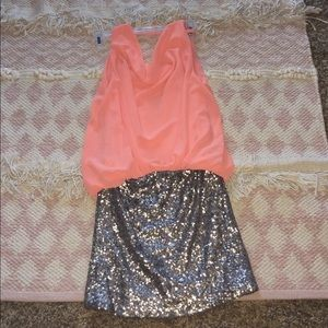 Ya peach and champagne sequined party dress