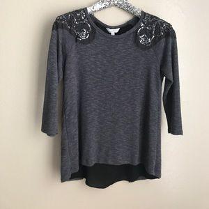 Grey embellished top