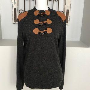 M +&Mod Grey Ribbed Toggle Sweater