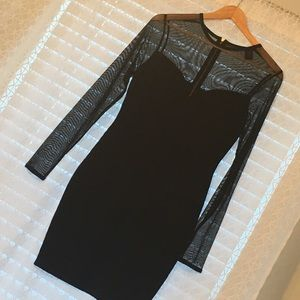 VS Fitted Black Dress with Sheer Sleeves