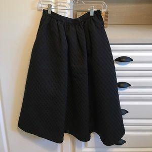 Black H&M Polka Dot Jacquard Midi Skirt