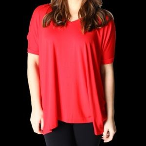 Red Short Sleeve Oversized PIKO top