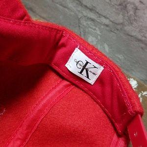 17fb41fc75b Calvin Klein Accessories - CALVIN KLEIN Vintage Red Wool Hat Snapback Cap  Hat
