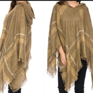 Sweaters - New Carmel Plaid Hooded Poncho One Size Small-2X