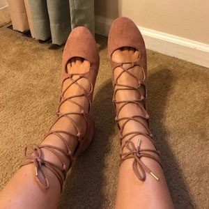 H&M Rusted Pink Lace-Up Flats 🎀