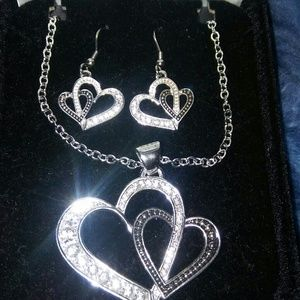 Jewelry - Double heart necklace and earring set.