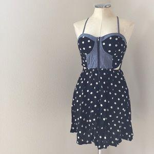 Polka dot dress with denim details