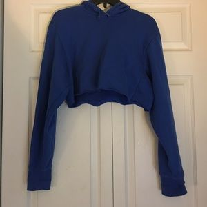 Cut Royal Blue Nike Hoodie Sweatshirt Crop