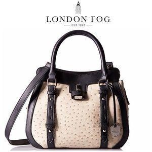 London Fog Ostrich Ecru Satchel Crossbody