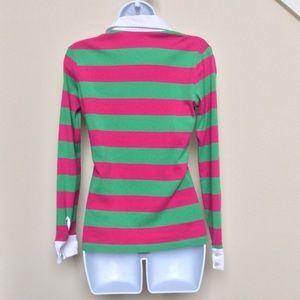 Lilly Pulitzer Tops - Lilly Pulitzer Pink and Green Striped Rugby Shirt