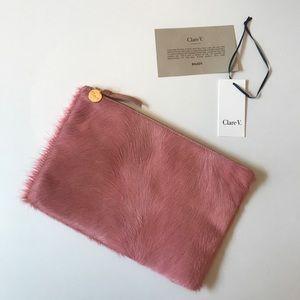 Clare V Pink Calf Hair Clutch