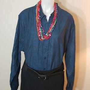 Lemon Grass woman blue/black shirt size 3X.