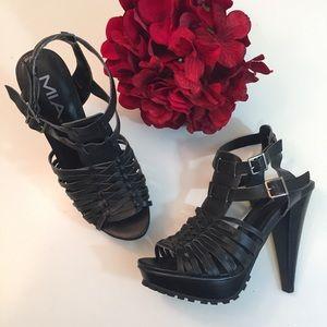 "❤️ MIA Black Strappy Platform 5"" Heel Sandals 6.5"