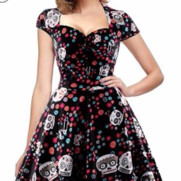 Plus Size Sugar Skull Dress- Boutique