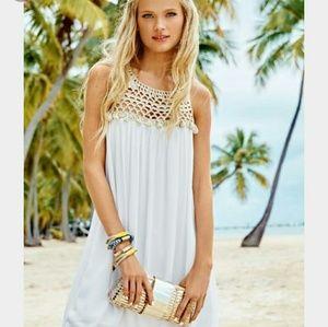 Lilly Pullitzer White Gold Croche Swing Tank Dress