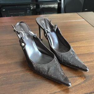 Sergio Rossi snake scale slingback heels