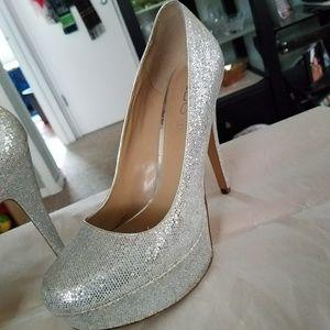 ALDO Silver Bling Platform Heels