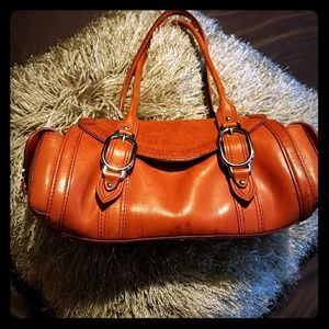 Cole Haan orange Baguette TRINITY leather satchel