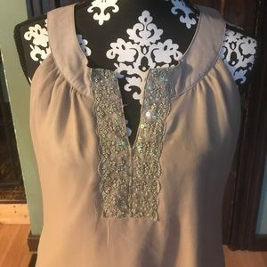 Beautiful Flowy Top with Beaded Neck Detail
