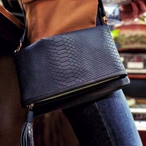 NIB! Navy Embossed Leather Convertible Clutch!