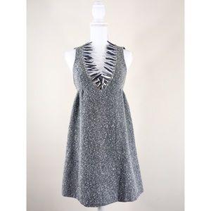 Anna Sui Metallic Gray Tweed Halter Dress Size 1