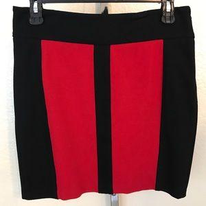 Caché Red Black Color Block Mini Skirt Size 4