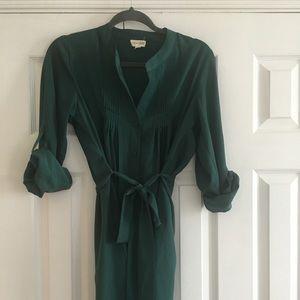 Maison Jules emerald green shirt dress
