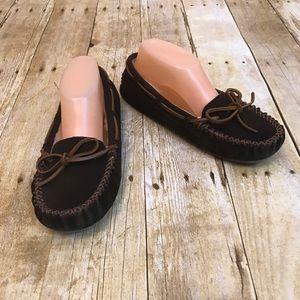 Minnetonka Brown Slipper Moccasins Size 8