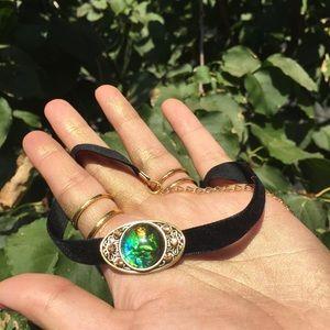 Green iridescent pendant black velvet choker