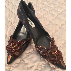 Navy copper/rose gold brocade kitten heels w/suede